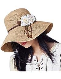 女性の麦わら帽子 - 夏の旅行海辺のビーチ帽子、スイートの折りたたみ式のサン帽子漁師の帽子 (色 : A)