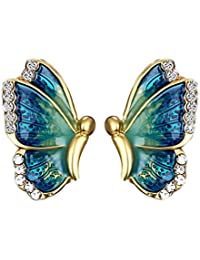 Butterfly Earings for Women Fashion Colorful Rainbow Gold Earrings for Girls Blue White Cubic Zirconia