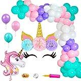 パーティー飾り ユニコーン アルミバルーン ウォールステッカー ラテックスバルーン 女の子 100日お祝い 半歳 一歳 ベビーシャワー 誕生日バルーンノッター チェーン ポンプ リボン付き