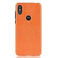 Motorola Moto One Power / P30 Note、PUレザースクラッチ耐性PC保護ハードケース用の携帯電話ケース超薄型クラシッククロコダイルパターン(色:オレンジ)