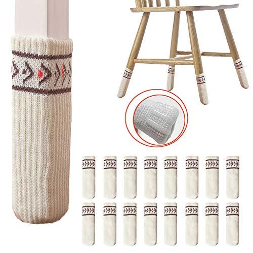 [2019進化版]GreatingFun 椅子脚カバー チェアソックス 16枚入り 椅子足カバー フローリング傷防止 丸脚と角脚両方対応 (ベージュ)