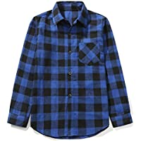 Grandwish Kids Long Sleeve Boy's Plaid Flannel Shirt 2T-12