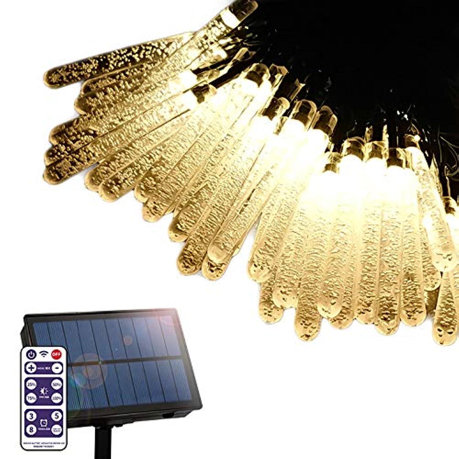 外部宝急行する電光ホーム ソーラー LED イルミネーション ストレート つらら型 ライト [ 8パターン 点灯 / 15m 100球 / リモコン付属 ] 屋外 防水 防雨 ガーデン DIY (シャンパンゴールド)