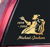 マイケル・ジャクソン1958???2009ビニールデカールステッカー???ミラーゴールド
