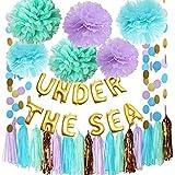 マーメイドパーティーデコレーション 海底のテーマ パープルブルーミント ベビーシャワーデコレーション ティッシュポンポン 最初の誕生日デコレーション パープルブライダルシャワーデコレーション 海の中のバルーン