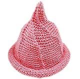 【Yuson Girl】折りたためる 麦わら帽子 風 とんがり帽子 エコアンダリア を使った 軽くて かわいい 手編み 帽子 (ピンク)