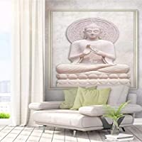 Weaeo カスタム壁画壁紙3Dステレオ壁画エンボス仏像壁紙エントランスホテルの壁の壁画壁画-280X200Cm