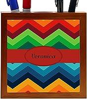Rikki Knight Veronica Name on Fall Colors Chunky Chevron Design 5-Inch Tile Wooden Tile Pen Holder (RK-PH45500) [並行輸入品]