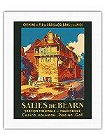 Salies-de-B?arn、フランス - スパ・観光 - SNCFフランスの鉄道 - ビンテージな鉄道旅行のポスター によって作成された ルネ・ルーセル c.1930s - キャンバスアート - 41cm x 51cm キャンバスアート(ロール)