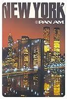 22cm x 30cmヴィンテージハワイアンティンサイン - ニューヨーク - パンアメリカン航空 - ブルックリン橋、ツインタワーズ - ビンテージな航空会社のポスター c.1975