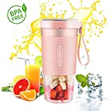 Morphy Richards Portable Blender Fruit Juice Mixer USB Smoothies 10oz Home Outdoor Travel Juicer Rechargeable Mini BPA Free(Pink)