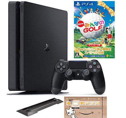 PlayStation 4 ジェット・ブラック 500GB (CUH-2100AB01) 【数量限定特典 New みんなのGOLF ダウンロード版付】【Amazon.co.jp限定】アンサー PS4用縦置きスタンド & オリジナルカスタムテーマ配信 付