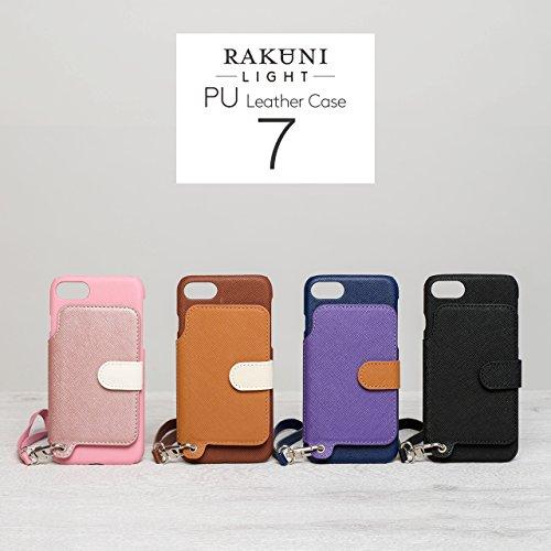 『RAKUNI Light PU Leather Case Book Type with Strap for iPhone 7 / iPhone 8 (ブルー) PUレザー スタンド機能 カードケース カバー ストラップホール付き RCB-7-BL』の4枚目の画像