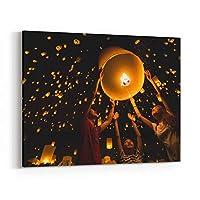 Rosenberry Rooms キャンバス ウォールアート プリント タイのファミリーリリース 空のランタン 崇拝 仏教 宗教 Yi Peng Festival Chiangmai Thailand 36 x 24 inches