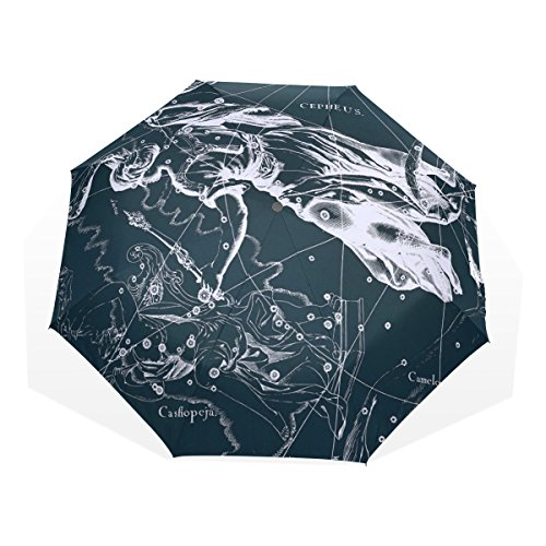 HMWR(ヒマワリ) おしゃれ 神話 星座柄 宇宙柄 星空 ケフェウス座 雑貨 レディース メンズ 子供用 三つ折り傘 折りたたみ傘 頑丈な8本骨 耐強風 軽量 撥水性 大きい 手動開閉 雨傘 日傘 晴雨兼用 収納ケース付 携帯用 かさ