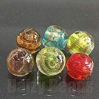 【デイジービーズ】4パック1セット 【はんぱガラスビーズ】 ランプワーク丸玉ミックス 約10mm (6個)