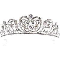 Stylish and Elegant Mariée accessoires de cheveux de Mariage or/Argent Strass Grands diadèmes de mariée et couronne Cristal Noiva diadème bijoux JL wsd (Couleur du métal : Silver)