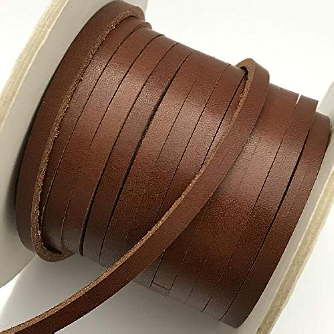 雷雨グリットだらしない(LS13-1m) 【副資材】 レザーストラップ 平紐 ブラウン 茶 5mm幅 本革 テープ コード 10cm カット売り 皮紐