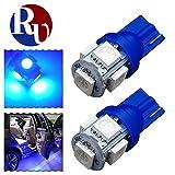 RVNI 2個入り T10 5050 5SMD LED ライト ウェッジ球 ルームランプ トランク灯 プラスチック 高輝度 長寿命 ブルー