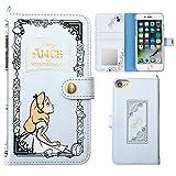 iPhone7 ケース 手帳型 カバー ディズニー カード収納 鏡 ストラップホール付き / ふしぎの国のアリス