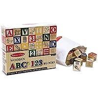 Melissa & Doug Wooden abc / 123 Blocks ( Set of 6 )