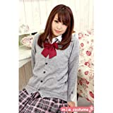ニットカーディガン単品 色:グレー サイズ:M ■男女兼用 学校制服■
