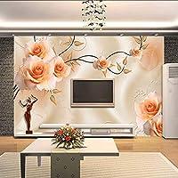 Lixiaoer カスタム写真の壁紙現代の3Dバラの花の壁紙の壁画アートのリビングルームのソファテレビの背景家の装飾の壁紙-120X100Cm