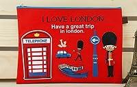オシャレで かわいい I LOVE LONDON A4サイズ ファスナー付 書類ケース レッド & ブルー 2個セット