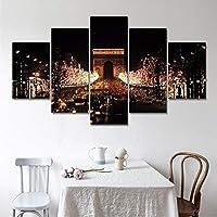 Jason Ming サンセットシートップトールトールキャンバスプリントリビングルーム、5パネルウォールアート絵画