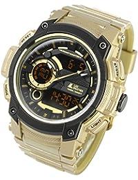 [ラドウェザー] アウトドア腕時計 トリプル・タイム搭載 アナログ&デジタル表示 ミリタリーウォッチ 100m防水 メンズ時計