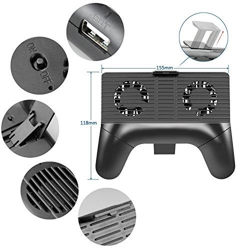 スマホ冷却ファン Darway ゲームコントローラ型ホルダー スマーフォン散熱器 冷却クーラー 2000mAhバッテリー内蔵 スマホ 発熱対策 4-6インチ iphone6s/7/7plusなど 多機種対応 (黒)