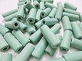 50個 ラバービーズ 竹ビーズ 18mm ミントグリーン マットな質感 手芸材料のヒューイ h1061