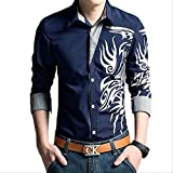 【 Smaids×Smile 】 メンズ シャツ トップス 柄 長袖 七分袖 スリム 刺繍 カジュアル トライバル (M, ネイビー)