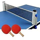 HoRoPii 自宅用 卓球 セット 3点(ラケット ×2本 伸縮 ネット ボール 付) アウトドア 職場 で手軽に ピンポン