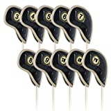 Craftsman Golf ダイヤモンド模様 カスタム レザー製 アイアンカバー 10枚入り 番手付 ブラック