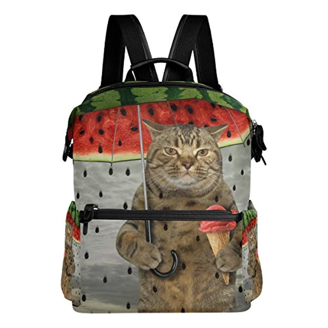 タイプライター機構驚いたAOMOKI リュック リュックサック 男女兼用 メンズ レディース 猫柄 スイカ 雨 おっさん猫 かわいい猫