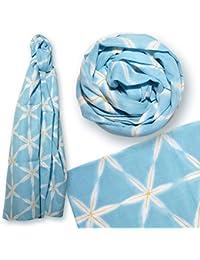 といろ ガーゼチーフ UVスカーフ 雪花絞り ブルー
