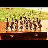 グローバルアートWorld Unravel Emperor The Roman FigurinesチェスセットアンティークHeavy真鍮アート装飾Collectibleのチェスセット32 figures /チェスゲームFigurines CB 04