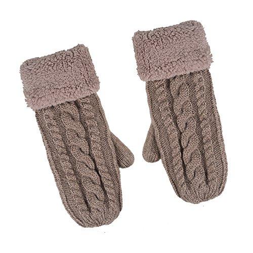 ニット手袋 冬用レディース防寒 折り返し 裏起毛保温 アウトドア 6色 (khaki)