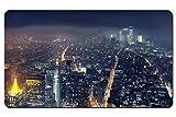 、ニューヨーク、メトロポリス、高層ビル、夜景 パターンカスタムの マウスパッド デスクマット 大 (60cmx35cm)