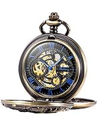 TREEWETO 機械式 懐中時計 スケルトン アンティーク ドラゴン ブロンズ ホロー チェン付き