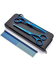 ラウンドヘッドペットの髪カットはさみ、プロのペットグルーミング精密安全はさみセット、ペットショップや個々のユーザーに適して,Blue