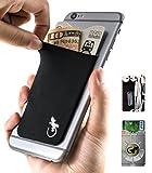 Gecko 携帯電話用ウォレット 黒/白 スマホに貼り付けられるカードケース - スキミング防止機能 - プライバシーを守る大容量ポケット - 黒/白 - Black