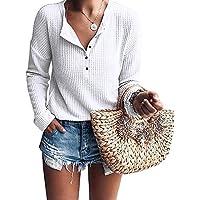 IRISGOD Womens-Waffle-Knit-Tunic-Tops Fall Loose Long Sleeve Button Up Henley Shirts