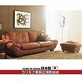カリモク ソファセット/ ZS97モデル 本革張椅子2点セット