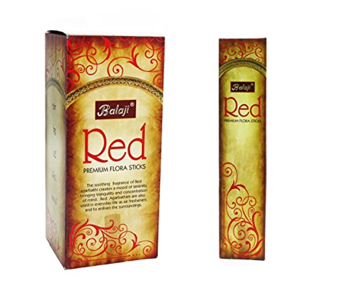 ペース計画的鏡Balaji Red Premium Flora Sticks (Incense/Joss Sticks/ Agarbatti) (12 units x 15 Sticks) by Balaji
