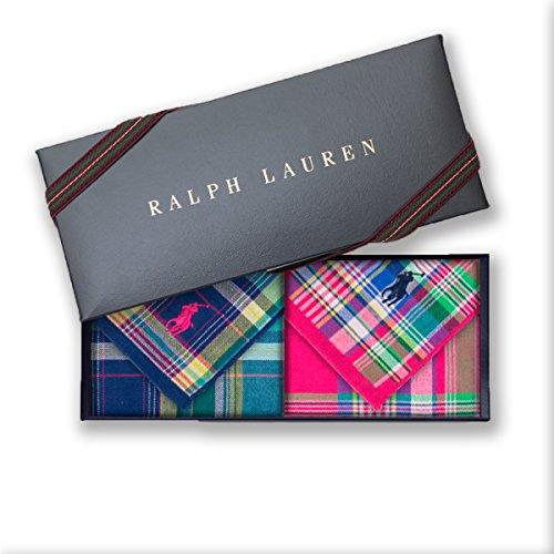 ラルフローレン 【RALPH LAUREN】タオルハンカチ2枚セットwithギフトボックス 11・ポロマドラスガーゼ