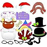 uchic 17pcs /セットクリスマスパーティー写真ブース小道具クリエイティブHappyクリスマスポーズSignパーティーのデコレーションキット