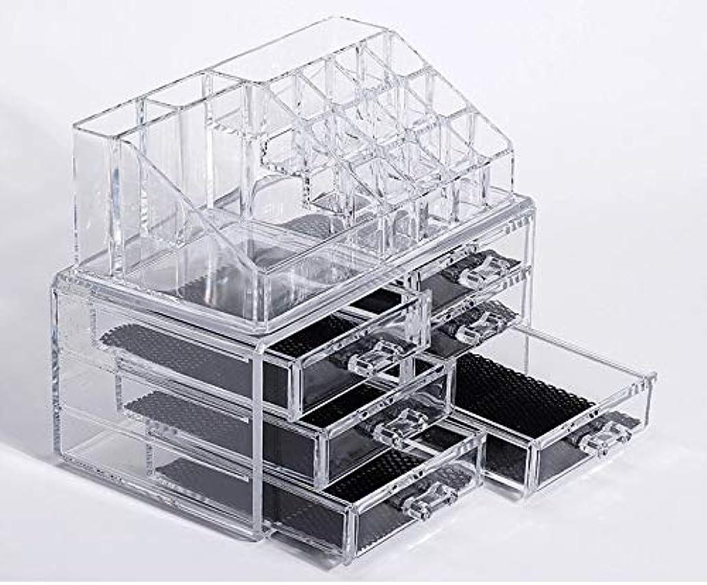 キッチン火薬フレット化粧品収納ボックス メイクケース メイクボックス コスメボックス 騒音なし 防塵 高透明度 強い耐久性 整理簡単 引き出し小物