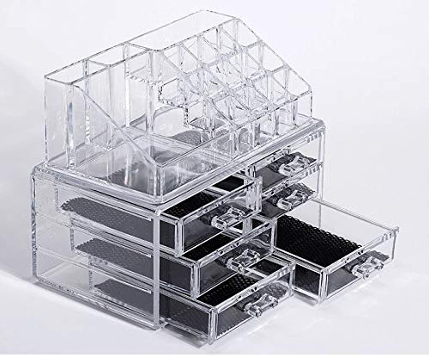 コマンド収容する原告化粧品収納ボックス メイクケース メイクボックス コスメボックス 騒音なし 防塵 高透明度 強い耐久性 整理簡単 引き出し小物